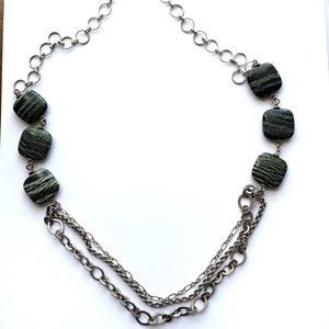 Anthropologie Silver Moss Agate Layered Necklace
